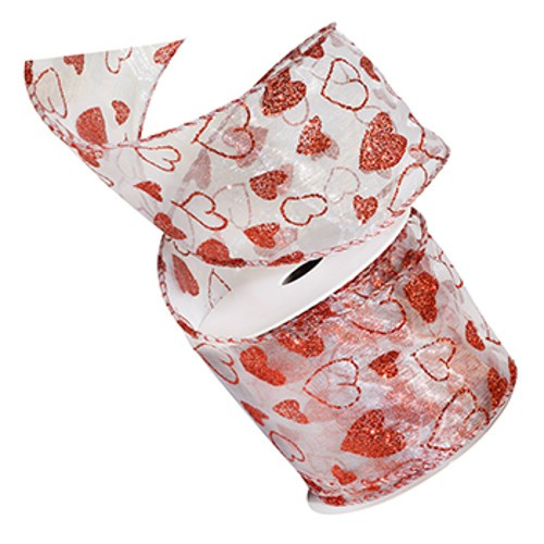Adore Red Sparkle Hearts on Sheer White Wide Wired Ribbon 50 Yards