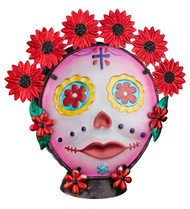 Painted Lady Sugar Skull Day of The Dead Glass Decorative Lamp