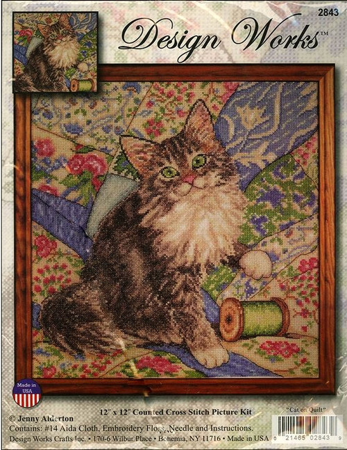 Cat on Quilt Counted Cross Stitch Kit Jenny Alderton Design Works