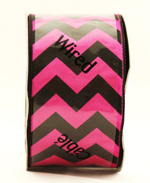 Pink Black Bold Chevron Stripe Wide Wired Ribbon 25 Yards