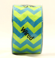 Turquoise Citrus Bold Chevron Stripe Wide Wired Ribbon 25 Yards