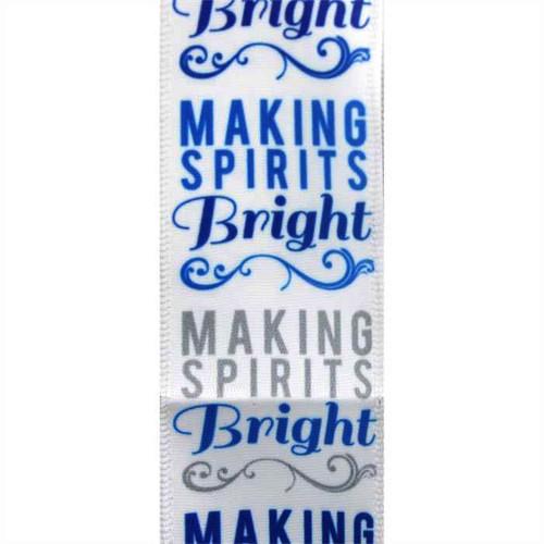 Making Spirits Bright Satin Wired Ribbon 25 Yards