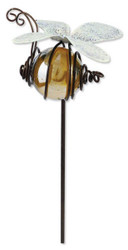 Bumble Bee Bug Patch Yellow Glass Metal Pot Sticker Garden Stake