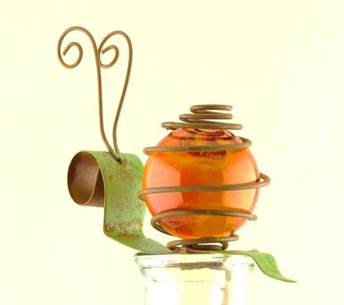 Gold Orange Snail Bug Patch Glass Metal Pot Sticker Garden Stake