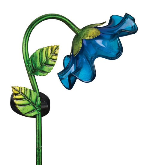Blue Glass Bell Flower Solar Light Garden Stake