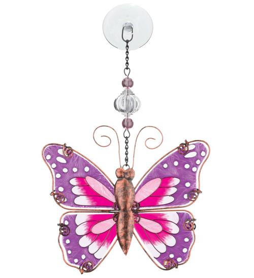 Pink Butterfly Hand Painted Glass Sun Catcher