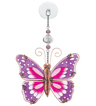 Pink Butterfly Hand Painted Glass Sun Catcher