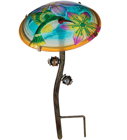 Hummingbird Glow In The Dark Glass Mushroom Garden Stake