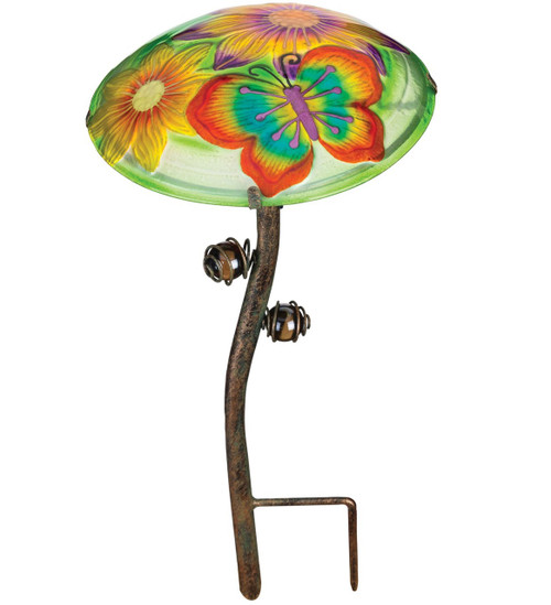 Butterfly Glow In The Dark Glass Mushroom Garden Stake