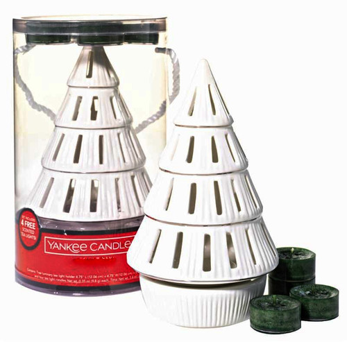 Christmas Tree Ceramic Luminary Tealight Candle Holder Yankee Candle