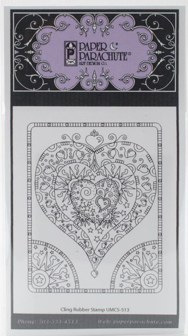 Sun and Stars Heart Cling Rubber Stamp Paper Parachute