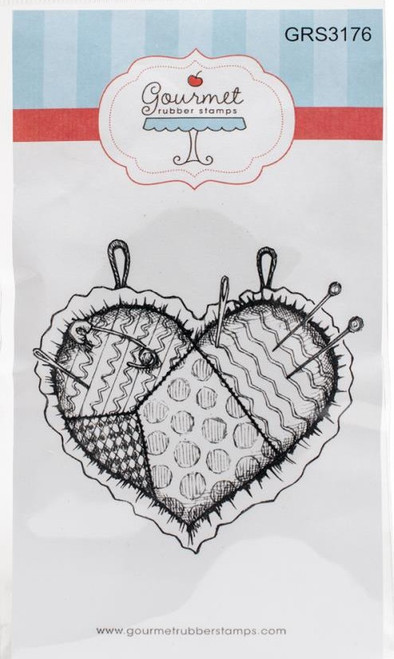 Pin Cushion Heart Cling Rubber Stamp Gourmet