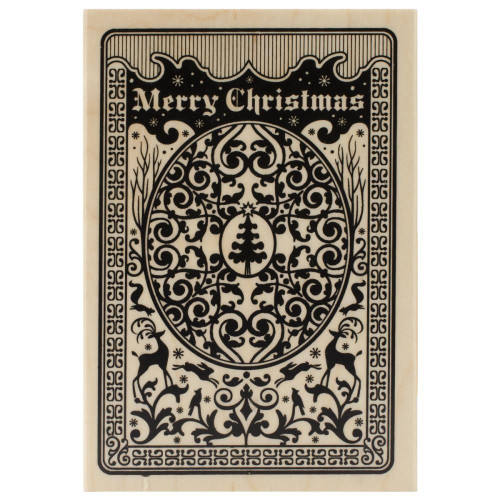 Christmas Playing Card Wood Mounted Rubber Stamp Inkadinkado