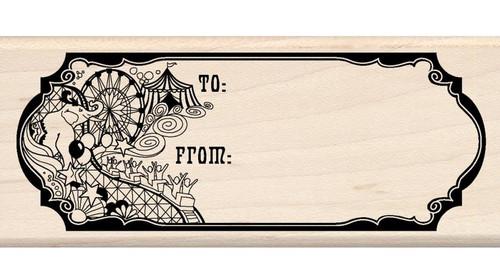 Circus Gift Tag Wood Mounted Rubber Stamp Inkadinkado