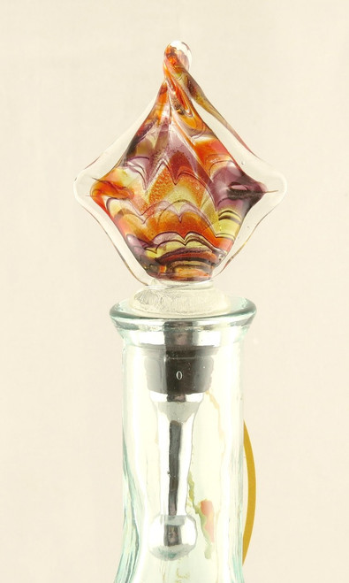 Orange Purple Multi-colored Square Art Glass Metal Bottle Topper