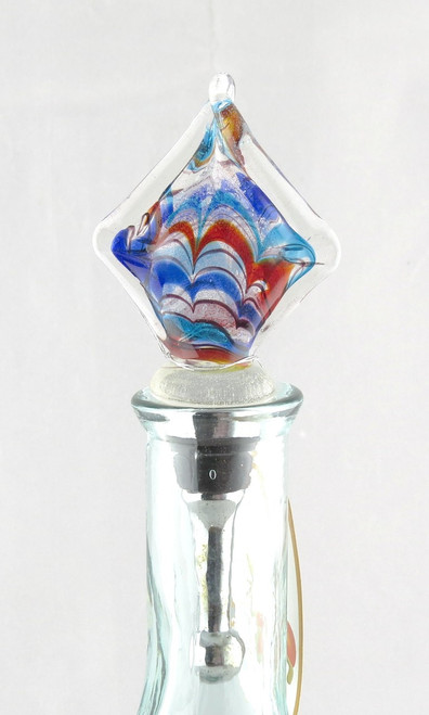 Red Blue Multi-colored Square Art Glass Metal Bottle Topper