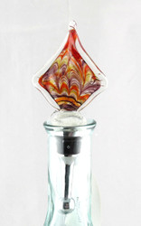 Gold Red Purple Multi-colored Square Art Glass Metal Bottle Topper