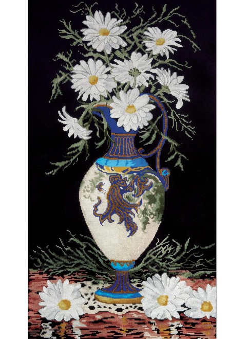 Daisies In Vase Counted Cross Stitch Kit Design Works