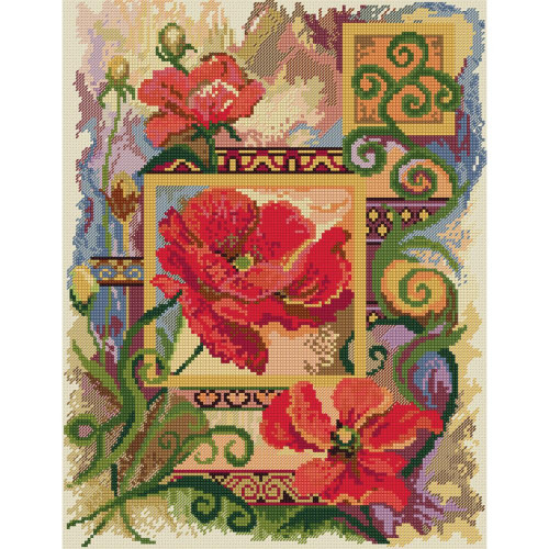 Poppies Abstract Counted Cross Stitch Kit Candamar