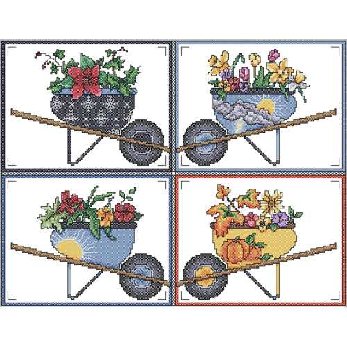 Wheelbarrow Seasons Counted Cross Stitch Kit Vickery Collection