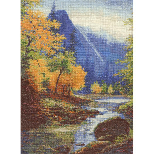 Below Bridal Veil Falls Gold Collection Counted Cross Stitch Kit Candamar