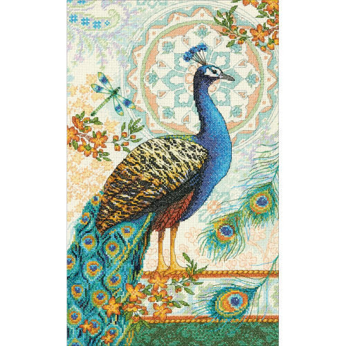 Royal Peacock Gold Collection Counted Cross Stitch Kit Dimensions