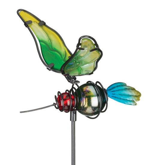 Hummingbird Glass Metal Plant Garden Stake