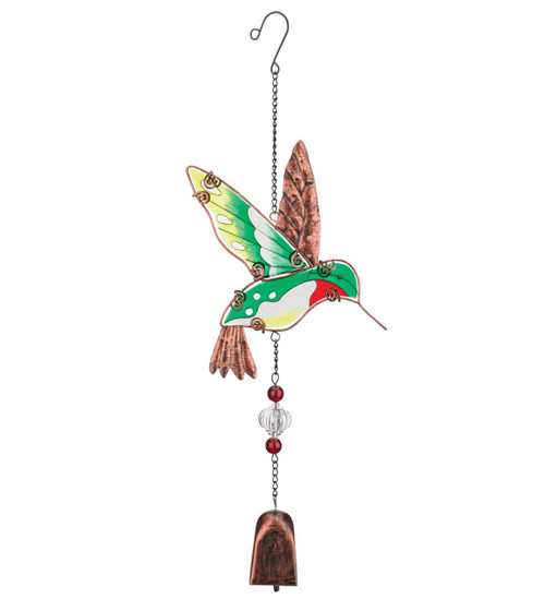 Hummingbird Hand Painted Glass Metal Ornament Hanging Garden Bell