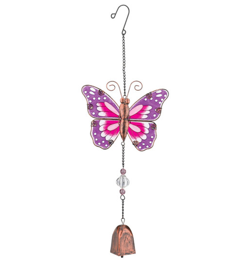 Pink Butterfly Hand Painted Glass Metal Ornament Hanging Garden Bell