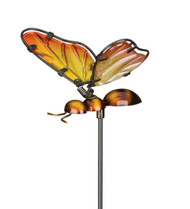 Golden Bumble Bee Glass Metal Plant Garden Stake