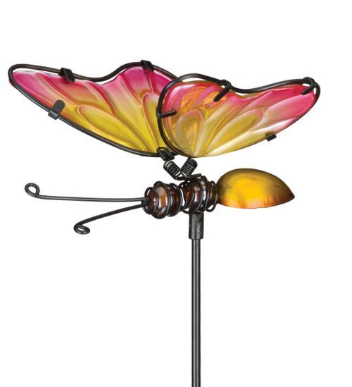 Pink Yellow Butterfly Glass Metal Plant Garden Stake