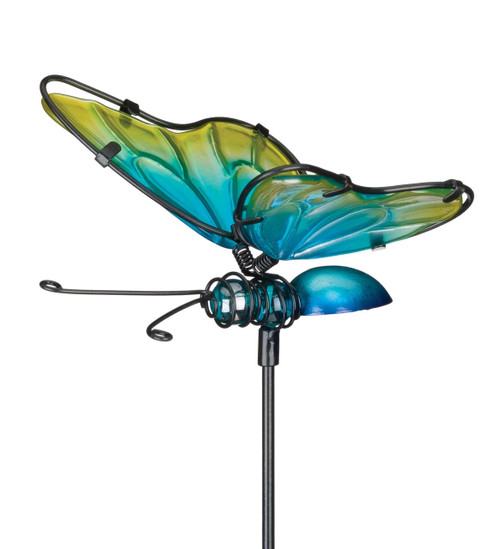 Blue Yellow Butterfly Glass Metal Plant Garden Stake