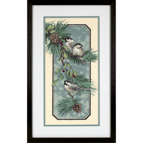 Chickadees on a Branch Stamped Cross Stitch Kit Dimensions