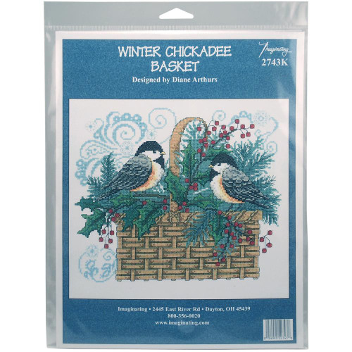 Winter Chickadee Basket Counted Cross Stitch Kit Imaginating