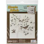 Bird Silhouette Simple Stitch Stamped Embroidery Kit Janlynn
