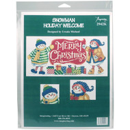 Snowman Holiday Welcome Counted Cross Stitch Kit Imaginating