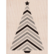 Chevron Striped Christmas Tree Wood Mounted Rubber Stamp Hero Arts