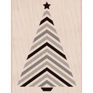 Chevron Striped Christmas Tree Wood Mounted Rubber Stamp Hero Arts