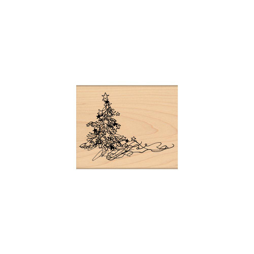 Bright & Beautiful Christmas Tree Wood Mounted Rubber Stamp Penny Black