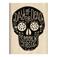 Spooky Fiesta Day of the Dead Wood Mounted Rubber Stamp Inkadinkado