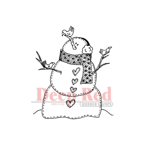 Snowman & Birds Rubber Cling Stamp Deep Red