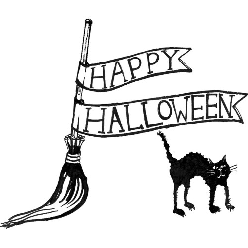 Witches' Broom & Cat Happy Halloween Rubber Cling Stamp Gourmet