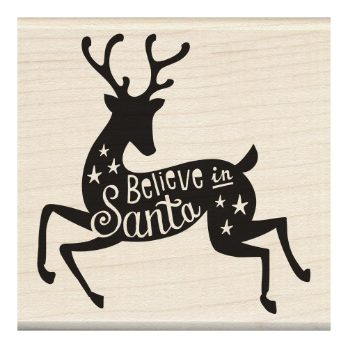 Believe In Santa Reindeer Wood Mounted Rubber Stamp Inkadinkado
