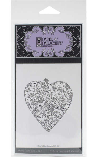 Leaf Heart Rubber Cling Stamp Paper Parachute
