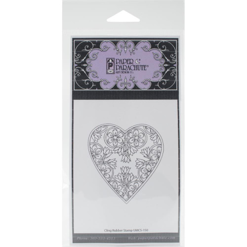 Floral Heart Rubber Cling Stamp Paper Parachute