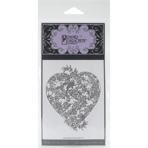 Small Bird Heart Rubber Cling Stamp Paper Parachute