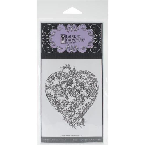Small Bird Heart Rubber Cling Stamp Paper Parachute
