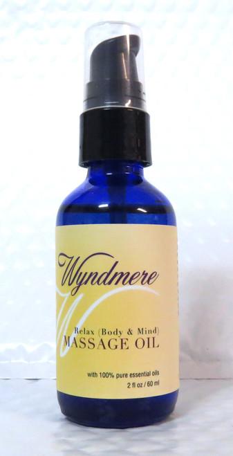 Relax Body & Mind Massage Body Oil Wyndmere Naturals 2oz