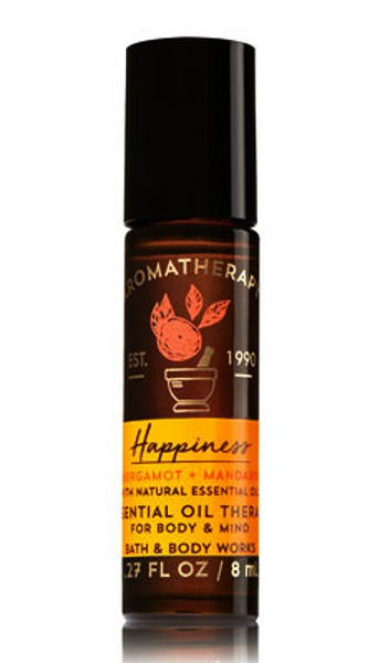 Happiness Bergamot Mandarin Aromatherapy Essential Oil Roller Ball Bath and Body Works 0.27oz