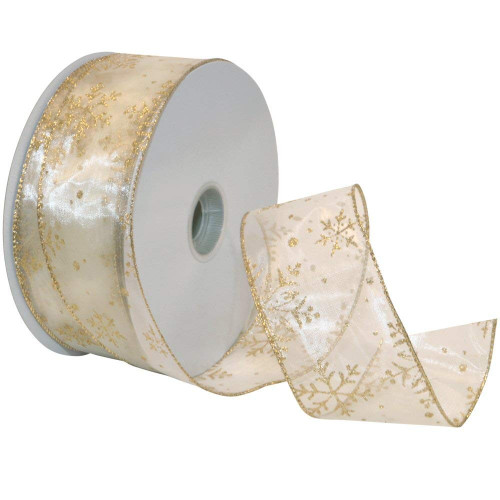 Gold Sparkle Snowflake on Sheer Ivory Wide Wired Ribbon 50 yards
